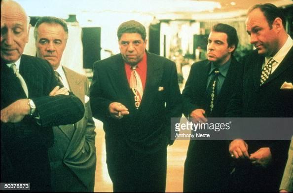Actors Dominic Chianese Tony Sirico Vincent Pastore Steve Van Zandt James Gandolfini in scene from HBO TV drama series The Sopranos