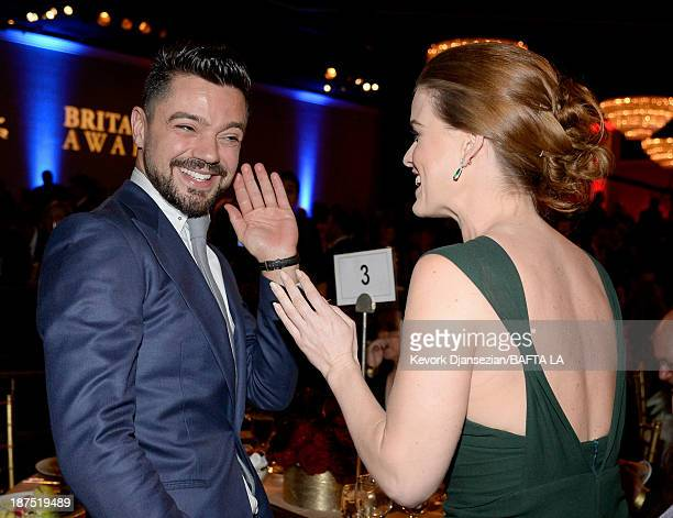 Actors Dominic Cooper and Alice Eve attend the 2013 BAFTA LA Jaguar Britannia Awards presented by BBC America at The Beverly Hilton Hotel on November...