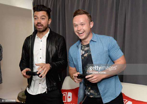 Actors Dominic Cooper and Ian Colletti from the television series 'Preacher' stopped by Nintendo at the TV Insider Lounge to check out Nintendo...