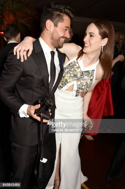 Actors Dominic Cooper and Michelle Dockery attend the 2017 Vanity Fair Oscar Party hosted by Graydon Carter at Wallis Annenberg Center for the...