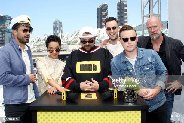 Actors Dominic Cooper Ruth Negga host Kevin Smith actors Joseph Gilgun Ian Colletti and Graham McTavish on the #IMDboat at San Diego ComicCon 2017 on...