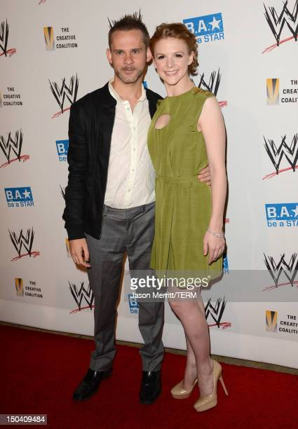 Actors Dominic Monaghan and Ashley Bell attend the WWE SummerSlam VIP KickOff Party at Beverly Hills Hotel on August 16 2012 in Beverly Hills...