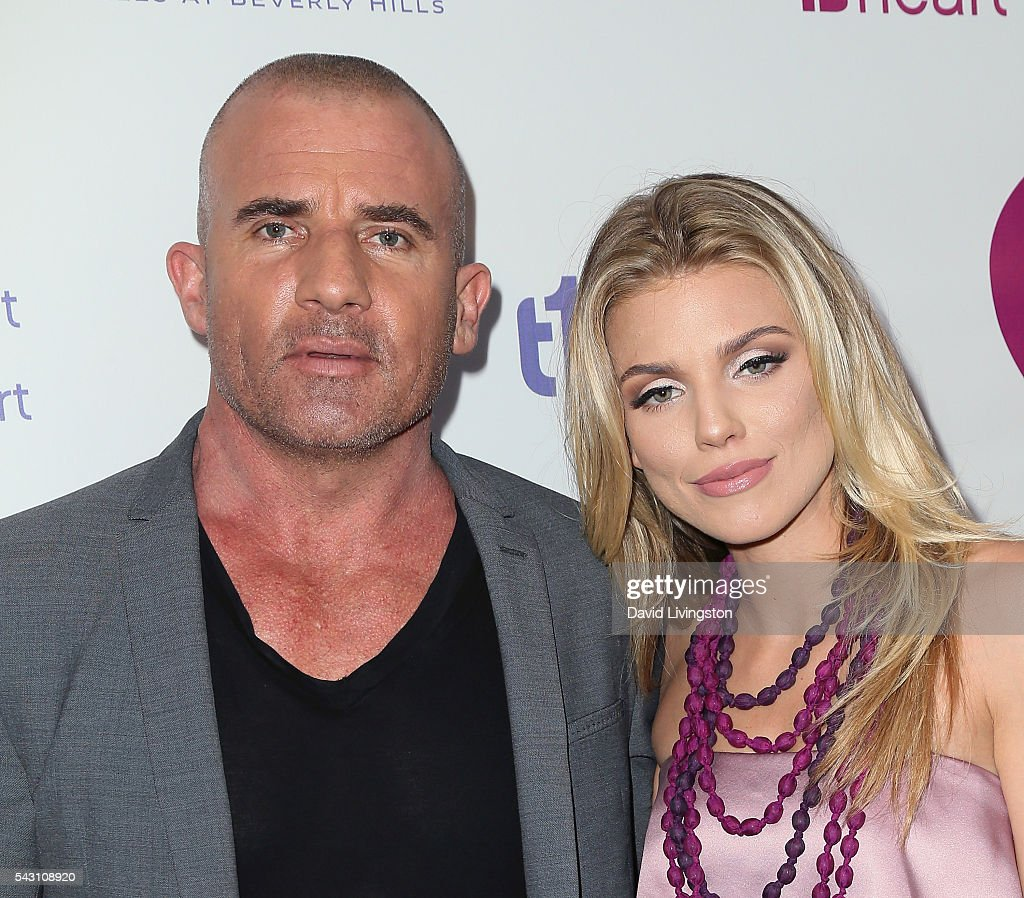 Actors Dominic Purcell (L) and AnnaLynne McCord attend together1heart launch party hosted by AnnaLynne McCord at Sofitel Hotel on June 25, 2016 in Los Angeles, California.