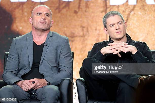Actors Dominic Purcell and Wentworth Miller of the television show 'Prisonbreak' speak onstage during the FOX portion of the 2017 Winter Television...