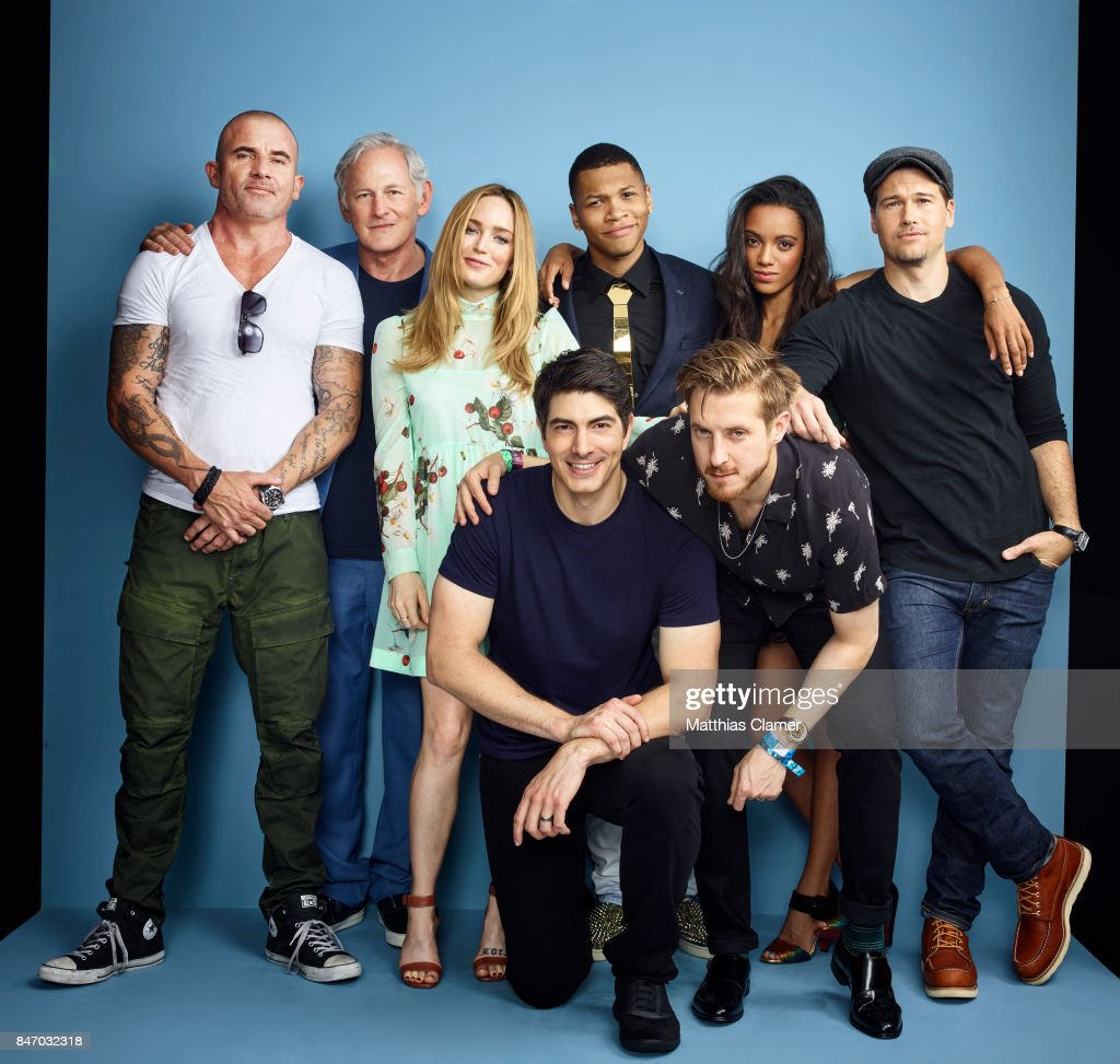 Actors Dominic Purcell, Victor Garber, Caity Lotz, Brandon Routh, Franz Drameh, Arthur Darvill, Maisie Richardson-Sellers and Nick Zano from 'DC's Legends Of Tomorrow' are photographed for Entertainment Weekly Magazine on July 23, 2016 at Comic Con in the Hard Rock Hotel in San Diego, California. PUBLISHED