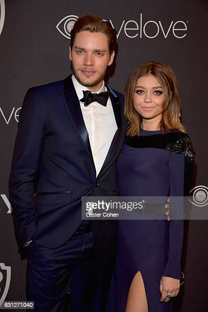 Actors Dominic Sherwood and Sarah Hyland attend the 18th Annual PostGolden Globes Party hosted by Warner Bros Pictures and InStyle at The Beverly...