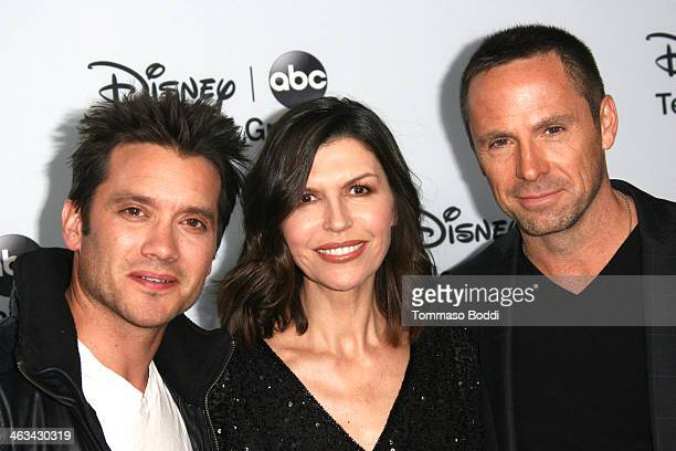 Actors Dominic Zamprogna Finola Hughes and William deVry attend the Disney ABC Television Group's 2014 winter TCA party held at The Langham...