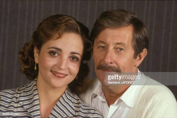 Actors Dominique Blanc and Jean Rochefort on set of the movie Je suis le Seigneur du Chateau directed by Regis Wargnier in September 1988 in France