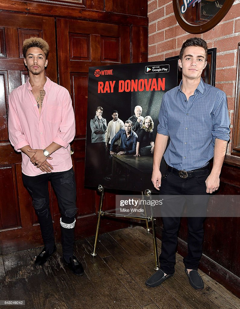 Actors Dominique Columbus (L) and Devon Bagby attend a viewing party for Showtime's 'Ray Donovan' at O'Brien's Irish Pub on June 26, 2016 in Santa Monica, California.