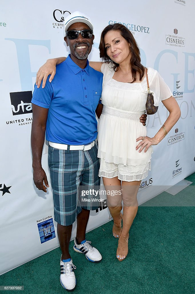 Actors Don Cheadle and Constance Marie attend the 9th Annual George Lopez Celebrity Golf Classic to benefit The George Lopez Foundation at Lakeside Golf Club on May 2, 2016 in Burbank, California.