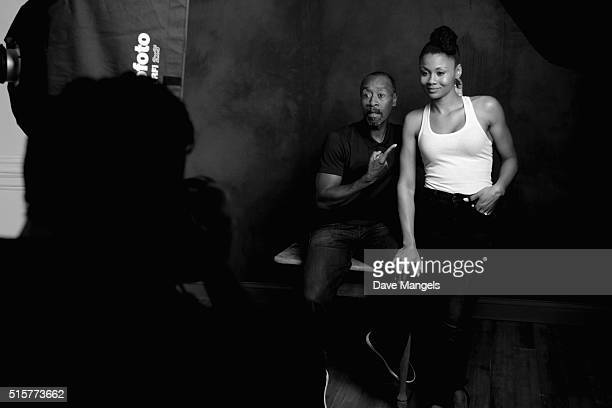 Actors Don Cheadle and Emayatzy Corinealdi of 'Miles Ahead' are seen behind the scenes in the Getty Images SXSW Portrait Studio powered by Samsung on...