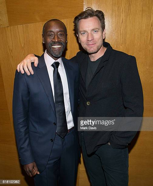 Actors Don Cheadle and Ewan McGregor attend the premiere of Sony Pictures Classics' 'Miles Ahead' at Writers Guild Theater on March 29 2016 in...
