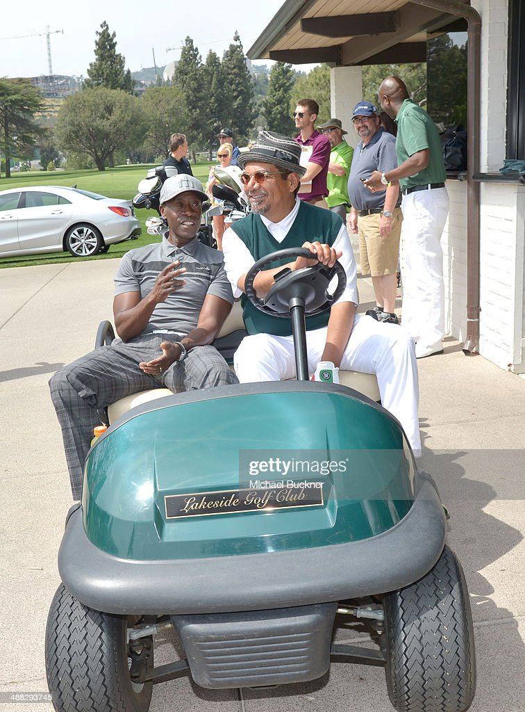 Actors Don Cheadle and George Lopez speaks attend the 7th annual George Lopez Celebrity Golf Classic presented by Sabra Salsa at Lakeside Golf Club...