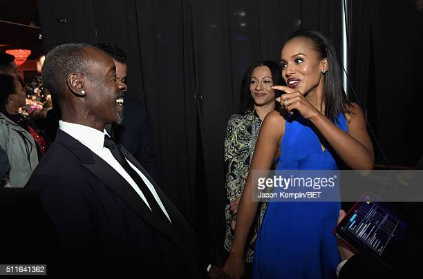 Actors Don Cheadle and Kerry Washington backstage at the 2016 ABFF Awards A Celebration Of Hollywood at The Beverly Hilton Hotel on February 21 2016...