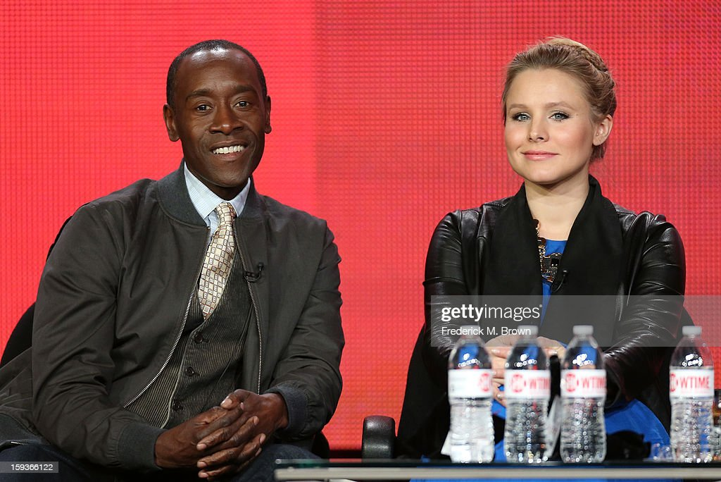Actors Don Cheadle and Kristen Bell of 'House of Lies' speak onstage during the Showtime portion of the 2013 Winter TCA Tour at Langham Hotel on January 12, 2013 in Pasadena, California.