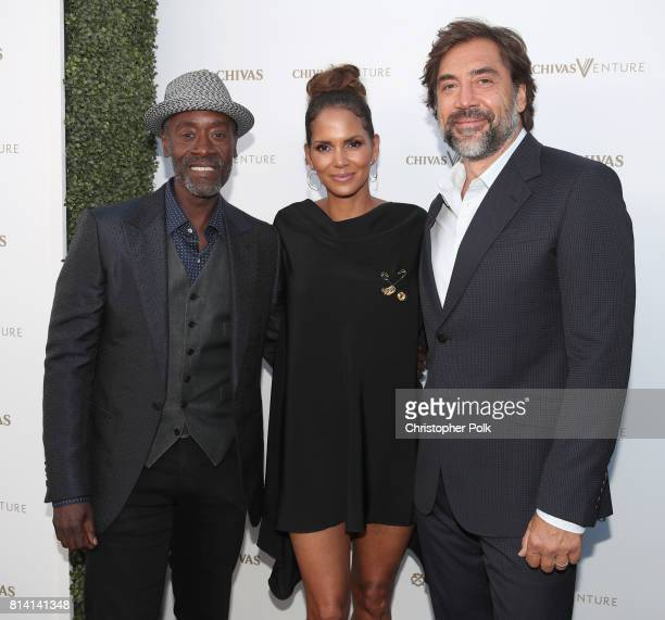 Actors Don Cheadle Halle Berry and Javier Bardem at The Chivas Venture $1m Global Startup Competition at LADC Studios on July 13 2017 in Los Angeles...