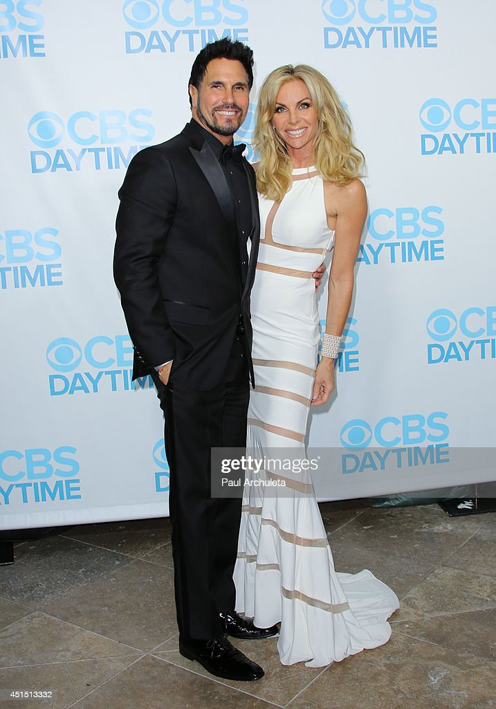 Actors Don Diamont (L) and Cindy Ambuehl (R) attend the 41st Annual Daytime Emmy Awards CBS after party at The Beverly Hilton Hotel on June 22, 2014 in Beverly Hills, California.