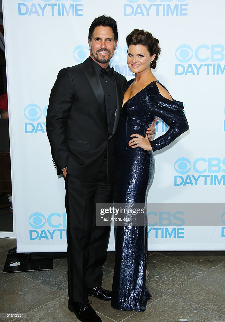 Actors Don Diamont (L) and Heather Tom (R) attend the 41st Annual Daytime Emmy Awards CBS after party at The Beverly Hilton Hotel on June 22, 2014 in Beverly Hills, California.