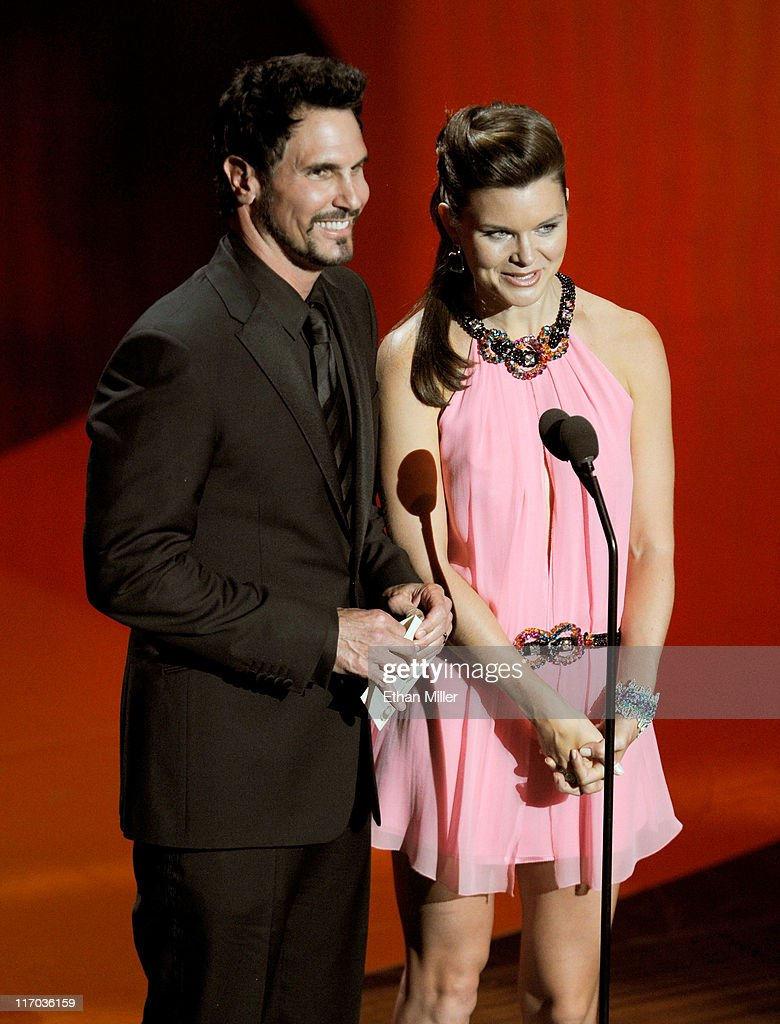 Actors Don Diamont and Heather Tom speak onstage during the 38th Annual Daytime Entertainment Emmy Awards held at the Las Vegas Hilton on June 19...