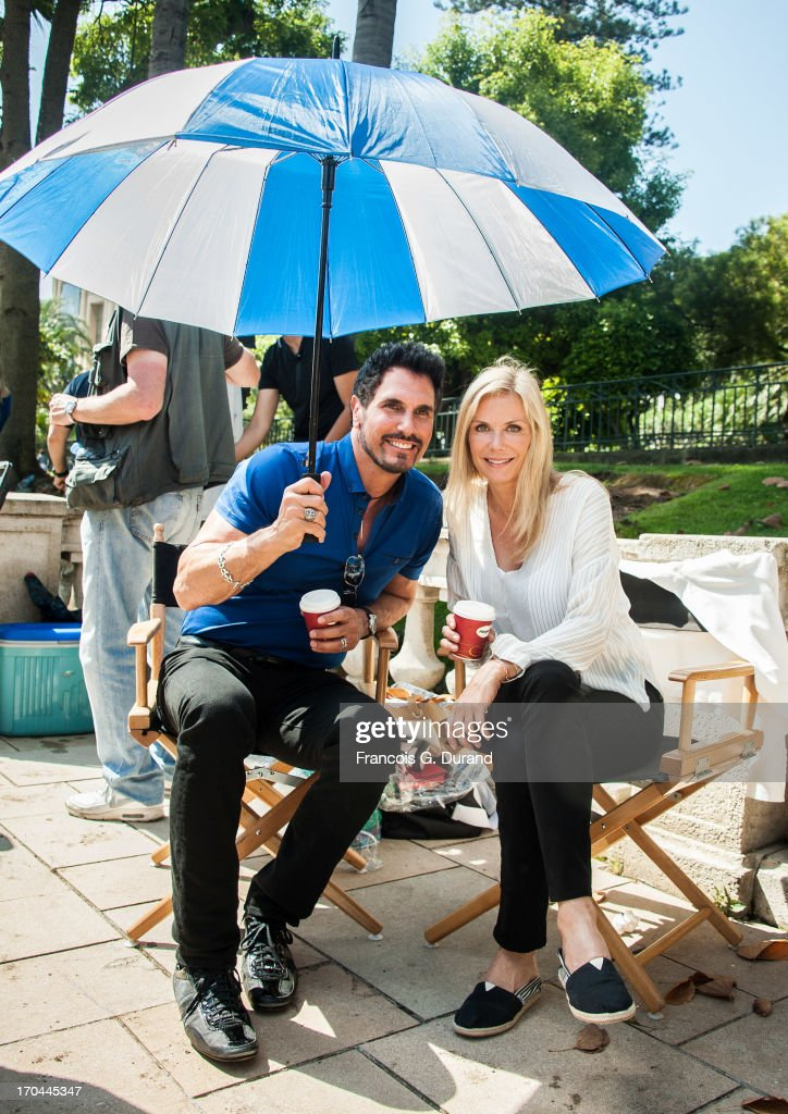 Actors <a gi-track='captionPersonalityLinkClicked' href=/galleries/search?phrase=Don+Diamont&family=editorial&specificpeople=606917 ng-click='$event.stopPropagation()'>Don Diamont</a> and <a gi-track='captionPersonalityLinkClicked' href=/galleries/search?phrase=Katherine+Kelly+Lang&family=editorial&specificpeople=663697 ng-click='$event.stopPropagation()'>Katherine Kelly Lang</a> are seen filming a scene of 'Bold And the Beautiful' on June 13, 2013 in Monaco, Monaco.