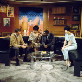 Actors Don Harron Ruby Dee Dick Gregory and Toby Robins perform together in a scene from the television drama 'Armchair Theatre Neighbours' in 1966