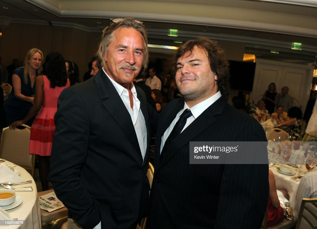 Actors <a gi-track='captionPersonalityLinkClicked' href=/galleries/search?phrase=Don+Johnson&family=editorial&specificpeople=211250 ng-click='$event.stopPropagation()'>Don Johnson</a> and <a gi-track='captionPersonalityLinkClicked' href=/galleries/search?phrase=Jack+Black&family=editorial&specificpeople=171453 ng-click='$event.stopPropagation()'>Jack Black</a> attend the Hollywood Foreign Press Association's 2012 Installation Luncheon held at the Beverly Hills Hotel on August 9, 2012 in Beverly Hills, California.