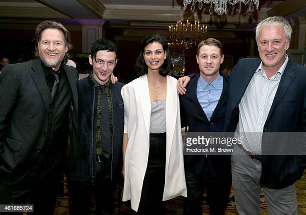 Actors Donal Logue Robin Lord Taylor Morena Baccarin Ben McKenzie and writer/executive producer Bruno Heller attend the FOX portion of the 2015...