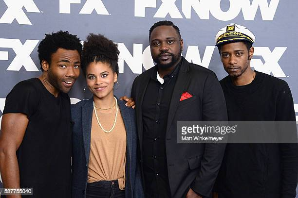 Actors Donald Glover Zazie Beetz Brian Tyree Henry and Keith Stanfield attend the FX Networks TCA 2016 Summer Press Tour on August 9 2016 in Beverly...