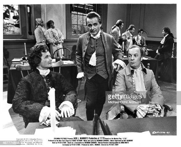 ... William Daniels and Howard Caine on set of the movie '1776' circa...