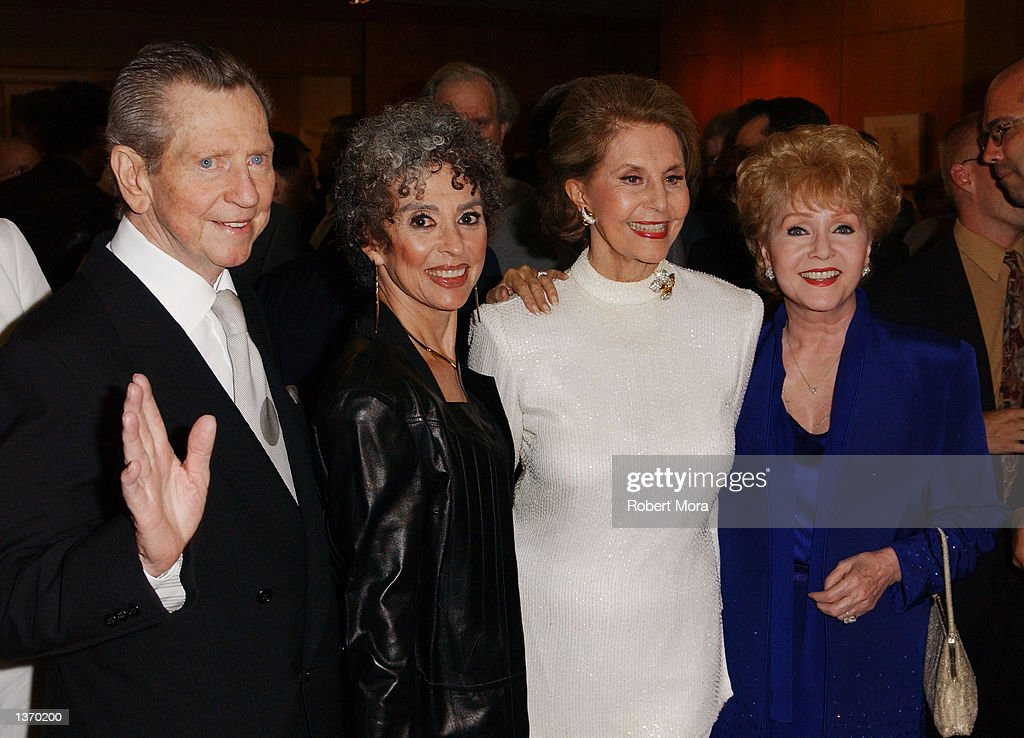 Actors Donald O'Connor, Rita Moreno, Cyd Charisse, Debbie Reynolds attend the 50th Anniversary screening of 'Singin' in the Rain' at the Academy of Motion Picture Arts and Sciences on September 5, 2002 in Beverly Hills, California.