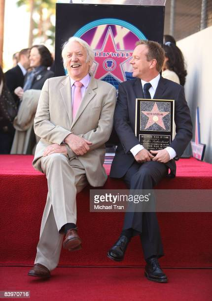 Actors Donald Sutherland and Kiefer Sutherland attend the ceremony honoring the Actor Kiefer Sutherland with a star on the Hollywood Walk of Fame on...
