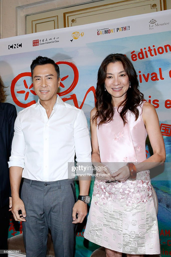 Actors Donnie Yen and Michelle Yeoh attend 6th Chinese Film Festival Press Conference at Hotel Meurice on June 30 2016 in Paris France