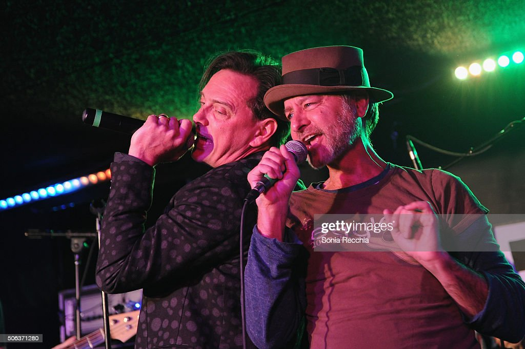 Actors Donovan Leitch and Fisher Stevens perform onstage at the Donovan Leitch Performance at Sundance at Cisero's Bar on January 22, 2016 in Park City, Utah.