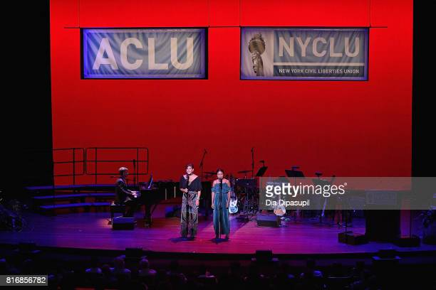 Actors Doreen Montalvo and Adrienne Warren perform onstage during the annual Broadway Stands Up For Freedom' concert histed by NYCLU at Jack H...