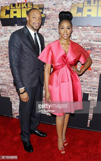 Actors Dorian Missick and Simone Missick attend the 'Luke Cage' New York premiere at AMC Magic Johnson Harlem on September 28 2016 in New York City