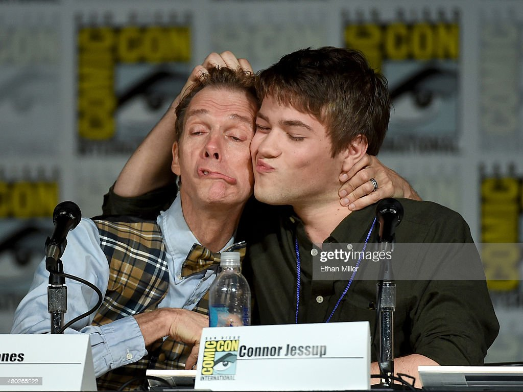 Actors Doug Jones and Connor Jessup speak onstage at the 'Falling Skies' The Farewell panel during ComicCon International 2015 at the San Diego...