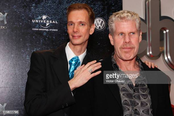 Actors Doug Jones and Ron Perlman attends the 'Hellboy II The Golden Army' Mexico City Premiere at Cinemex Antara on July 3 2008 in Mexico City Mexico