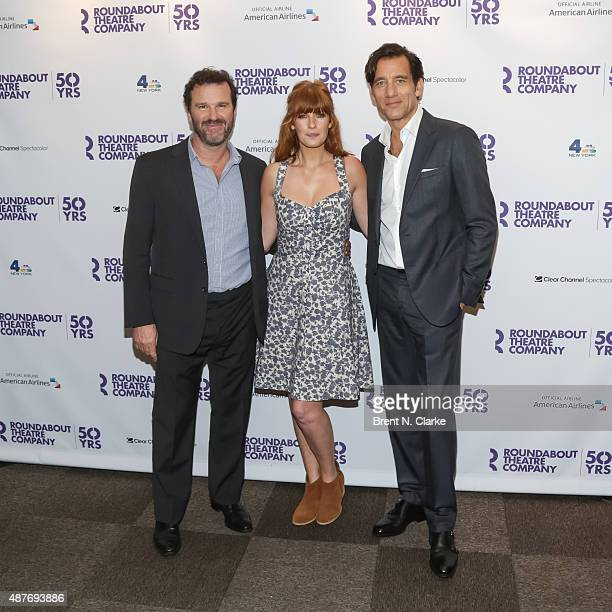 Actors Douglas Hodge Kelly Reilly and Clive Owen arrive for Roundabout's 50th anniversary season party held at the Roundabout Theatre Company on...