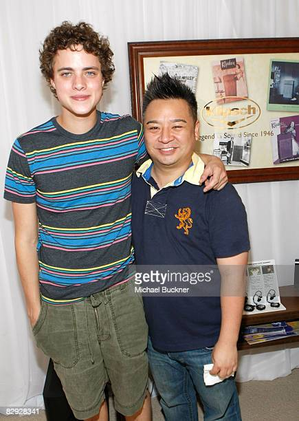 Actors Douglas Smith and Rex Lee pose with the Klipsch Audio display during the HBO Luxury Lounge in honor of the 60th annual Primetime Emmy Awards...