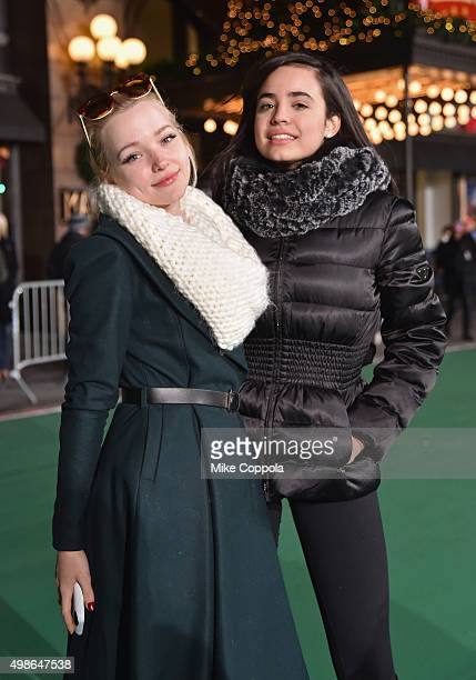 Actors Dove Cameron and Sofia Carson pose for a picture at the 89th Annual Macy's Thanksgiving Day Parade Rehearsals Day 2 on November 24 2015 in New...