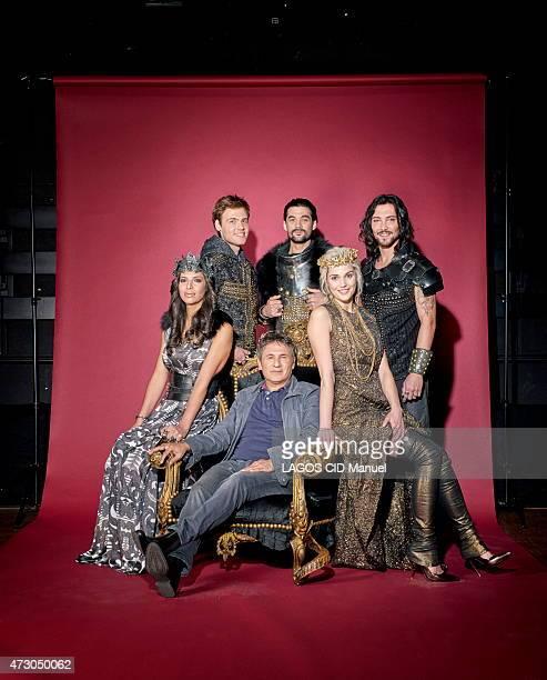 Actors dressed and the filmmaker Dove Attia for the musical La legende du Roi Arthur with Zaho Charlie Boisseau Florent Mothe Fabien Incardona and...