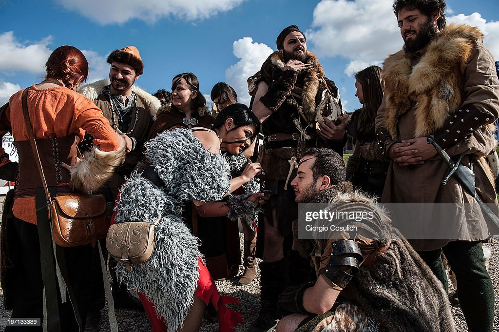 Actors dressed as ancient barbarian soldiers get ready to march in a commemorative parade during festivities marking the 2,766th anniversary of the founding of Rome on April 21, 2013 in Rome, Italy. The capital celebrates its founding annually based on the legendary foundation of the Birth of Rome. Actors dressed as the denizens of ancient Rome participate in parades and re-enactments of the ancient Roman Empire. According to legend, Rome had been founded by Romulus in 753 BC in an area surrounded by seven hills.