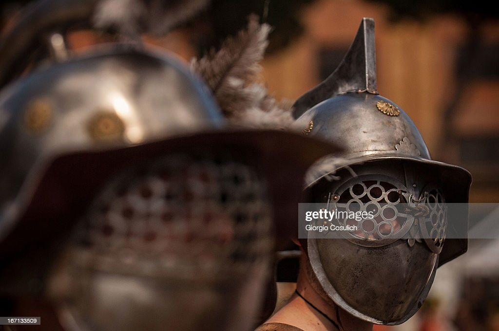 Actors dressed as ancient gladiators march in a commemorative parade during festivities marking the 2,766th anniversary of the founding of Rome on April 21, 2013 in Rome, Italy. The capital celebrates its founding annually based on the legendary foundation of the Birth of Rome. Actors dressed as the denizens of ancient Rome participate in parades and re-enactments of the ancient Roman Empire. According to legend, Rome had been founded by Romulus in 753 BC in an area surrounded by seven hills.