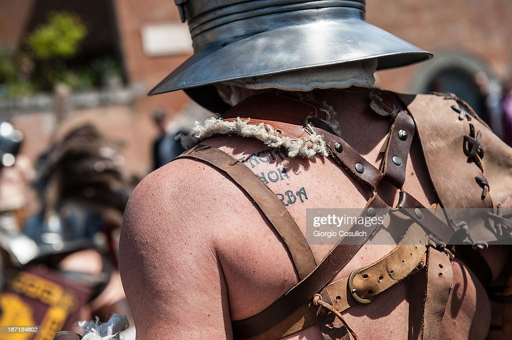 Actors dressed as ancient gladiators march in front of the Coliseum in a commemorative parade during festivities marking the 2,766th anniversary of the founding of Rome on April 21, 2013 in Rome, Italy. The capital celebrates its founding annually based on the legendary foundation of the Birth of Rome. Actors dressed as the denizens of ancient Rome participate in parades and re-enactments of the ancient Roman Empire. According to legend, Rome had been founded by Romulus in 753 BC in an area surrounded by seven hills.