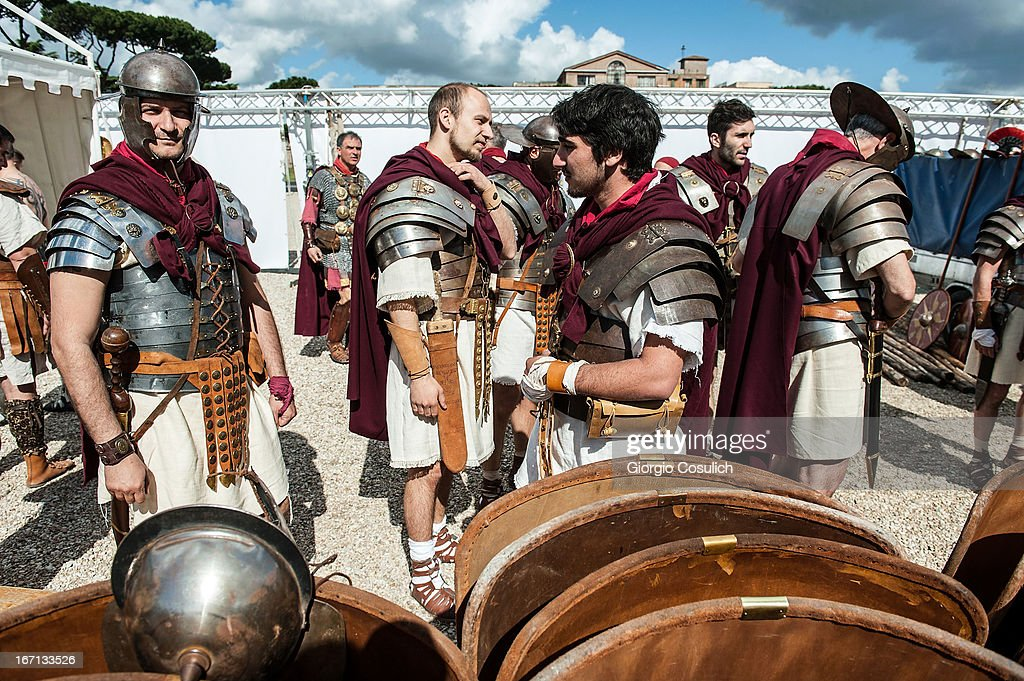 Actors dressed as ancient Roman soldiers get ready to march in a commemorative parade during festivities marking the 2,766th anniversary of the founding of Rome on April 21, 2013 in Rome, Italy. The capital celebrates its founding annually based on the legendary foundation of the Birth of Rome. Actors dressed as the denizens of ancient Rome participate in parades and re-enactments of the ancient Roman Empire. According to legend, Rome had been founded by Romulus in 753 BC in an area surrounded by seven hills.