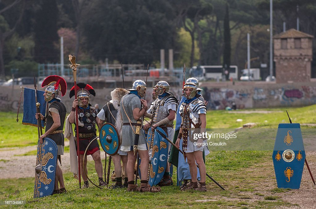 Actors dressed as ancient Roman soldiers get ready to march in a commemorative parade during festivities marking the 2,766th anniversary of the founding of Rome on April 21, 2013 in Rome, Italy. The capital celebrates its founding annually based on the legendary foundation of the Birth of Rome. Actors dressed as the denizens of ancient Rome participate in parades and re-enactments of the ancient Roman 753 BC in an area surrounded by seven hills.