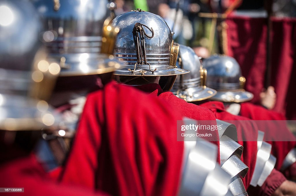 Actors dressed as ancient Roman soldiers march get ready to march in a commemorative parade during festivities marking the 2,766th anniversary of the founding of Rome on April 21, 2013 in Rome, Italy. The capital celebrates its founding annually based on the legendary foundation of the Birth of Rome. Actors dressed as the denizens of ancient Rome participate in parades and re-enactments of the ancient Roman Empire. According to legend, Rome had been founded by Romulus in 753 BC in an area surrounded by seven hills.