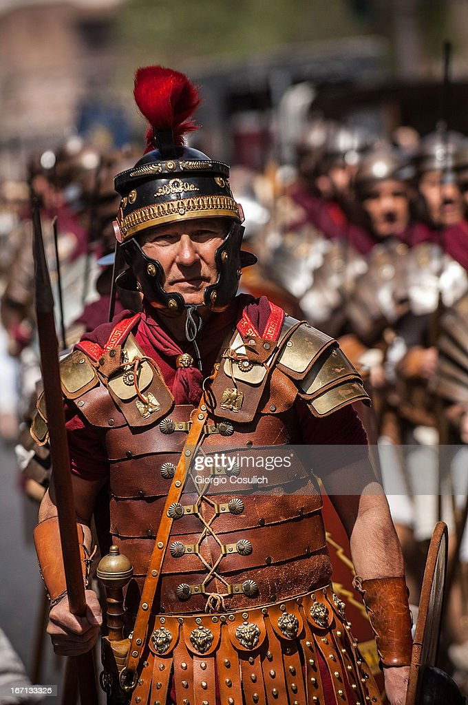 Actors dressed as ancient Roman soldiers march in a commemorative parade during festivities marking the 2,766th anniversary of the founding of Rome on April 21, 2013 in Rome, Italy. The capital celebrates its founding annually based on the legendary foundation of the Birth of Rome. Actors dressed as the denizens of ancient Rome participate in parades and re-enactments of the ancient Roman Empire. According to legend, Rome had been founded by Romulus in 753 BC in an area surrounded by seven hills.