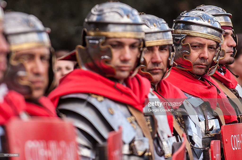 Actors dressed as ancient Roman soldiers march in a commemorative parade during festivities marking the 2,766th anniversary of the founding of Rome on April 21, 2013 in Rome, Italy. The capital celebrates its founding annually based on the legendary foundation of the Birth of Rome. Actors dressed as the denizens of ancient Rome participate in parades and re-enactments of the ancient Roman 753 BC in an area surrounded by seven hills.