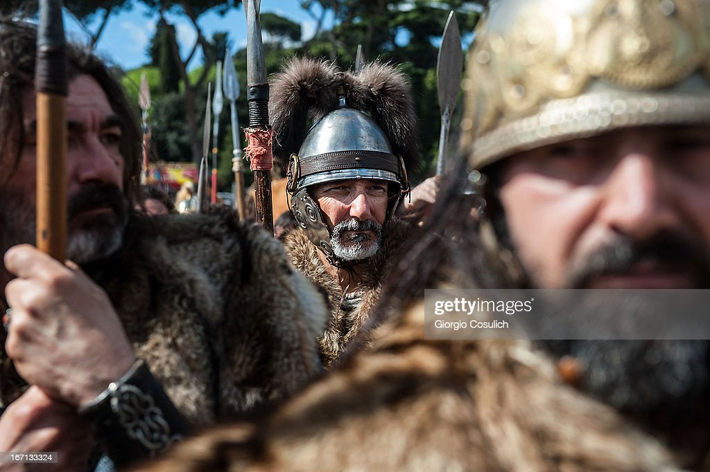 Actors dressed as barbarian soldiers get ready to march in a commemorative parade during festivities marking the 2,766th anniversary of the founding of Rome on April 21, 2013 in Rome, Italy. The capital celebrates its founding annually based on the legendary foundation of the Birth of Rome. Actors dressed as the denizens of ancient Rome participate in parades and re-enactments of the ancient Roman Empire. According to legend, Rome had been founded by Romulus in 753 BC in an area surrounded by seven hills.